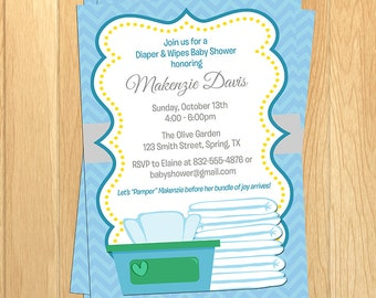 printed or digital boys diapers and wipes 5x7 baby shower invitation