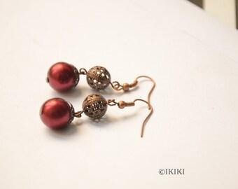 Filigree Bead and Burgundy Pearl Dangle Earrings, Vintage Look Burgundy Dangle Earrings