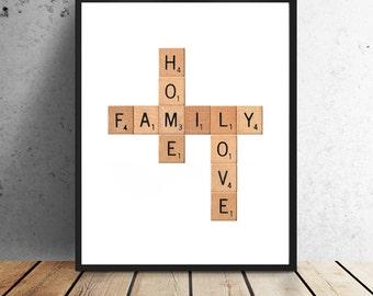 Scrabble Print - Family, Home, Love - Instant download