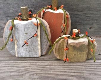 Repurposed Wood Fall Pumpkins
