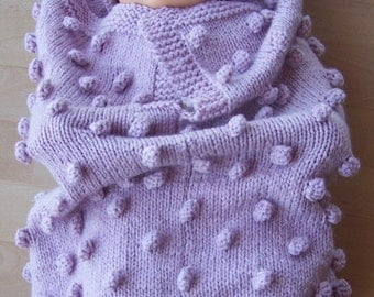Hand Knitted Pink Baby Papoose And Hat Set - Free Shipping