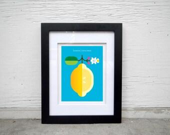 Hand-signed, digitally printed lemon poster fruit print for the home, office, kids room. Minimal, lemon print, modern art, kitchen art