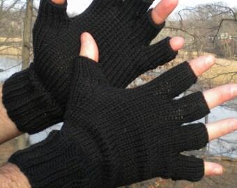 Half Finger Gloves Men's Hand Knit Black Merino Wool Half Finger Gloves Black Men's Hand Warmers Black Merino Wool Men's Half Finger Gloves