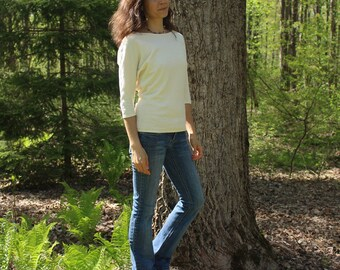 organic clothing - 3/4 dolman sleeve batwing shirt - 100% hemp and organic cotton - custom made to order