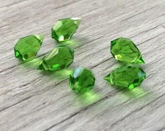 Czech crystal teardrop briolette beads  peridot green 6 LAST ONE