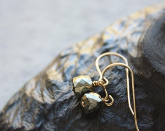 Pyrite Earrings,  Black Grey Fools Gold Earrings, Small Gemstone Metallic