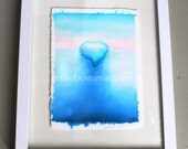 ICEBERG Watercolor painting by Mike Boston in white frame 9x12
