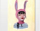 Original Painting: Bunny Girl in Pink