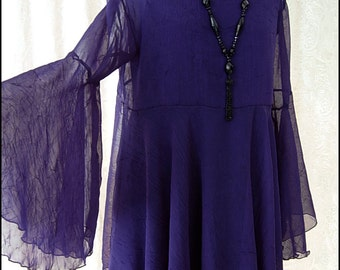 One of a Kind Purple Chiffon Shadowen Blouse with Flared Sleeves by Kambriel - Brand New & Ready to Ship!