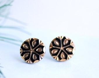 Snowflake Stud Earrings, Black and Gold Earrings, Glass Post Earrings, Art Deco Earrings, Winter Jewelry, Elegant Studs