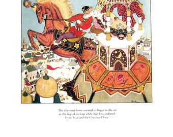 Dulac Fairy Tales - Ivan and The Chestnut Horse, Bashtchelik- 1979 Vintage Book Plate