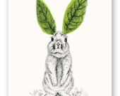 GREEN BUNNY //Nature/ Outdoor Art Print, Wall Art, Illustration, Nursery, Kids Room, Art Print, Pencil Drawing, Easter, Green