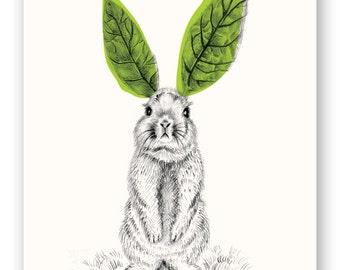 GREEN BUNNY //Nature/ Outdoor Art Print, Wall Art, Illustration, Nursery, Kids Room, Art Print, Pencil Drawing, Easter, Green