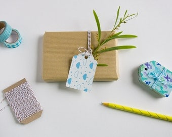 Pack of 10 Blue clouds Gift tags - Christmas tags - Favor tags - Gift Embellishments - For Christmas, Birthday, Thank you Gift