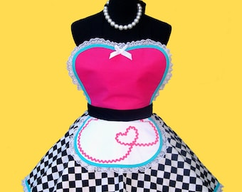 Apron - Hot Pink 50's Diner Waitress Apron 50s Retro Costume Apron MADE TO ORDER