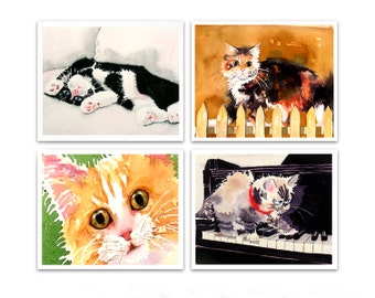 Art PRINT sale 20% off set of 4 Prints / Watercolor painting of Animals, Cats, Fruit, for the Nursery, Kitchen artwork YOUR CHOICE for child