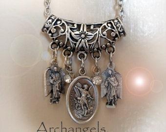3 Archangels Necklace,  Archangel Michael, Gabriel, Raphael, Charm Necklace, Baptism Gift, Catholic Jewelry