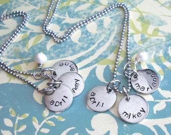 Mini Discs Triple Necklace Set w/Pearl. Hand Stamped Curved Names. Small charm, silver, copper, gold.Round metal tags.Customize trio Crystal