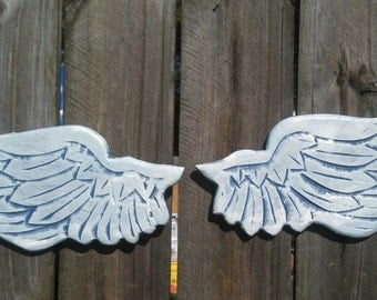 Baby Angel Wings Blue and Baby Blue with Iridescent Sparkle Cherub Wings Wall Hanging 10x5 ea