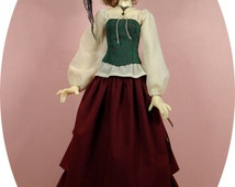Gracefaerie pattern 60, Waterfall. Waterfall skirt for Kaye Wiggs 50cm Nelly BJD.  Also fits Dollstown Elf