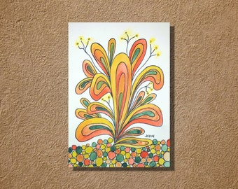 """Happy Plant in Orange Yellow and Green Watercolor and Ink Painting Drawing 5"""" x 7""""  Wall Art"""