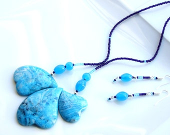 Statement SET Turquoise Jewellery - Crazy Lace AGATE Gemstone Abstract Hearts Multi-Pendant Necklace and Earrings