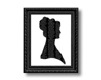Pride And Prejudice Elizabeth Bennet Silhouette Print Black and White Jane Austen