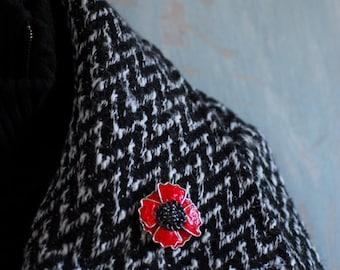 Red Poppy Brooch, Bold Flower Jewelry, Van Gogh Poppy Fields Inspired