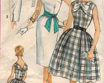 1960s Simplicity 3909 UNCUT Vintage Sewing Pattern Misses Full Skirt Dress, Slim Skirt Dress, Sheath, Sash Size 12 Bust 32