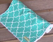 Chenille Burp Cloth     Teal Lattice Burp cloth