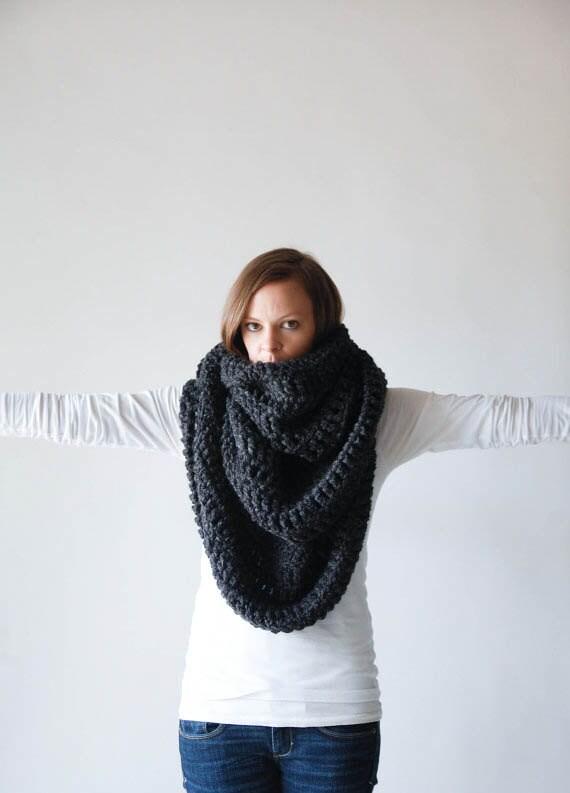 THE ALASKAN Extra Large Blanket Scarf Huge Chunky Infinity Scarf Oversized Shawl Hood / Charcoal Grey