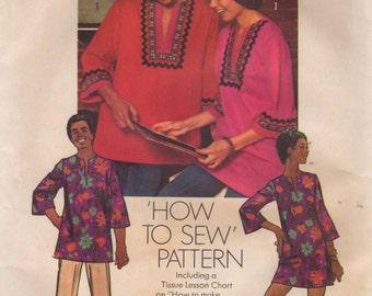 Simplicity 5828 1970s Misses DASHIKI Simple Mini Dress Tunic Pattern Womens  Ethnic  Vintage Sewing Pattern Size 16 Bust 38 UNCUT
