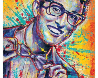 """12x18""""  Art Print Poster - Buddy Holly - Rave On - 1950s 1960s music retro vintage"""