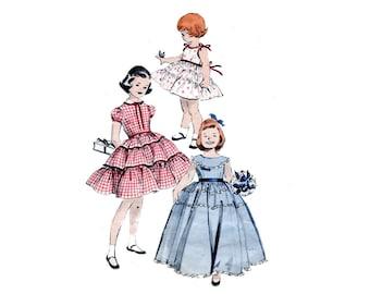 1950s Toddler Dress Pattern Sun Dress Full Skirt Party or Formal Flower Girl Tierred Skirt Size 2 Butterick 7593 Vintage Sewing Pattern