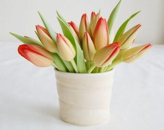 Light Yellow Ceramic Vase - Porcelain Yellow Vase - Handmade Bud Vase - Under 30 - Mothers Day