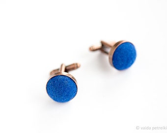 Copper blue cufflinks Unusual cuff links Set of two deep blue handmade wool felt cufflinks Wedding set anniversary gift