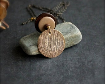 Etched Brass Faux Bois Pendant Necklace Rustic Texture Brown Wood Cream Bone Woodland Nature Boho Jewellery
