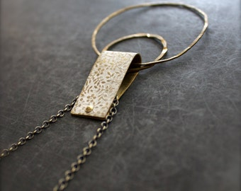 White Floral Hoop Pendant Necklace Rustic Patina Riveted Bail Floral Textured Hammered Brass Boho Jewellery