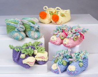 Knitting Pattern MAIL/Five Designs/Baby Booties/Newborn/Bootie Pattern/Knitting /Baby Booties/Cotton Baby Booties/Newborn Booties/Cotton