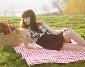 Picnic Blanket- Red Gingham- Waterproof Picnic Blanket, Eco Friendly, Personalized Picnic Blanket