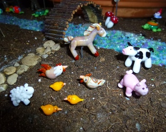Complete set - Barn yard animals for fairy garden farm