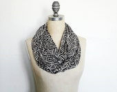 Infinity Scarf, Ivory and Black, Tribal Print, , Circle Scarf, Fashion Scarf