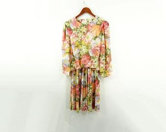 Sale 80s Floral Mini, 80s Mini Dress, Vintage Coral Dress, Pastel 80s Dress, Full Skirt Mini, 1980s Floral Dress / m