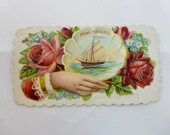 Antique Victorian Calling Card, Embossed Hidden Name Ship in Shell Roses - Many Pleasures