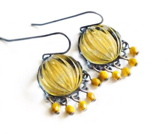 Mustard Yellow Chandelier Earrings Vintage Sparkling Domed Ribbed Yellow Glass Chandelier Earrings
