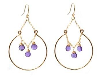 Amethyst Hoop Earring,  Gemstone Chandelier Earrings