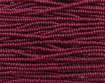 6/0 Opaque Dark Red Czech Glass Seed Bead Strand (CW126)