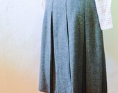 Pleated Gray Wool Skirt - XS/S - Vintage Midi