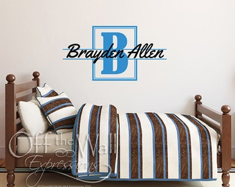 Personalized Name Decal, Nursery Decor, Boy's Bedroom Monogram, Initial Wall Vinyl Decal