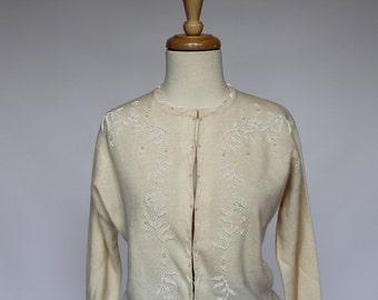 60's / 70's   Beaded Wool Cardigan / Cream / Beads & Pearls / Small to Medium